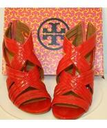 Tory Burch LIV-Patemt Calf Ladies RED Open Toe Sandals Shoes size 7.5 Zi... - $125.00