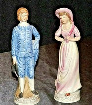 Pink Girl and Blue Boy Figurines AA20-2296 Vintage