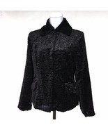 Norm Thompson Black Persian Lamb Faux Fur Jacket Womans Petite Small New - $41.55