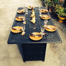Outdoor Propane Fire Pit bar height double burner table Elisabeth aluminum patio image 2