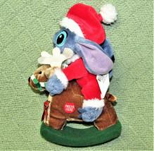 "DISNEY STORE LILO AND STITCH 7"" CHRISTMAS PLUSH ROCKING HORSE SANTA CLAU... - $9.50"