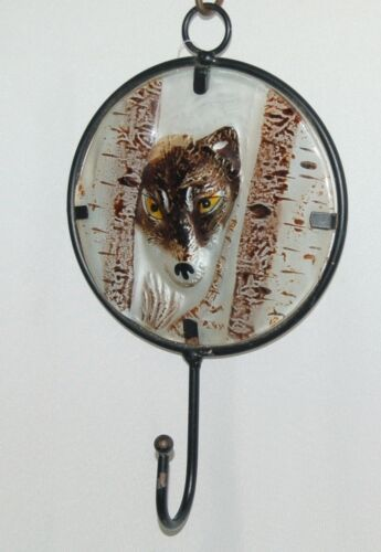 Evergreen 3WH021 Cape Craftsmen Embossed Glass Wall Hook Wolf