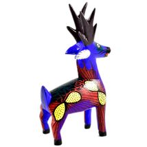 Handmade Oaxacan Copal Wood Carving Painted Folk Art Reindeer Deer Elk Figurine image 3