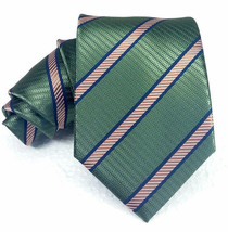NEW wide Neck tie 100% silk Green striped Made in ITALY business / weddi... - $23.18