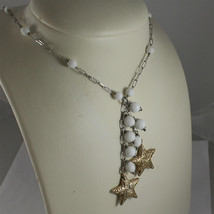 .925 RHODIUM SILVER NECKLACE, WHITE AGATE, SCARF, 2 YELLOW PLATED SILVER STARS. image 1