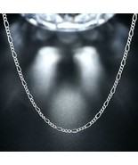 18K White Gold Plated  Cuban Figaro Chain Necklace - $22.00