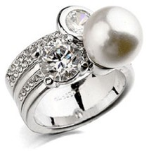 2018 Mothers Day 18K White Gold Plated White Simulated Pearl CZ Cubic Zi... - $40.54