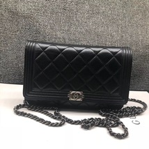 100% AUTH CHANEL Boy WOC Quilted Lambskin Black Wallet on Chain Flap Bag SHW