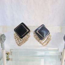Vintage Triple Chain Drape Earrings Clips Navy Blue Acrylic Squares Unique - $12.59