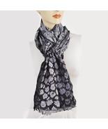 New CEJON Womens Lurex Geo Jacquard Leopard Scarf Wrap Black Grey Shawl - $12.98
