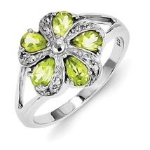 STERLING SILVER NATURAL PERIDOT & DIAMOND FLOWER CLUSTER RING BAND - SIZE 8 - £46.56 GBP