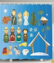 Christmas Fabric Shower Curtain Kids Cartoon Figures Fun Gifts Nativity ... - $447,96 MXN