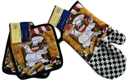 FAT CHEF OVEN MITT SET 3pc Oven Mitt Potholders Italian Cook Black Trim ... - $13.99