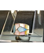 Women's Silver Navajo Pink & Blue Mother of Pearl Raised Inlay Wrap Ring... - $48.02