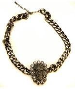 "Skull Necklace Gun Metal  8"" drop Chain with extender - $12.56"