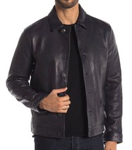 John Varvatos Collection Men's Smooth Leather Button Jacket Blue Marine EU 52 - $658.12