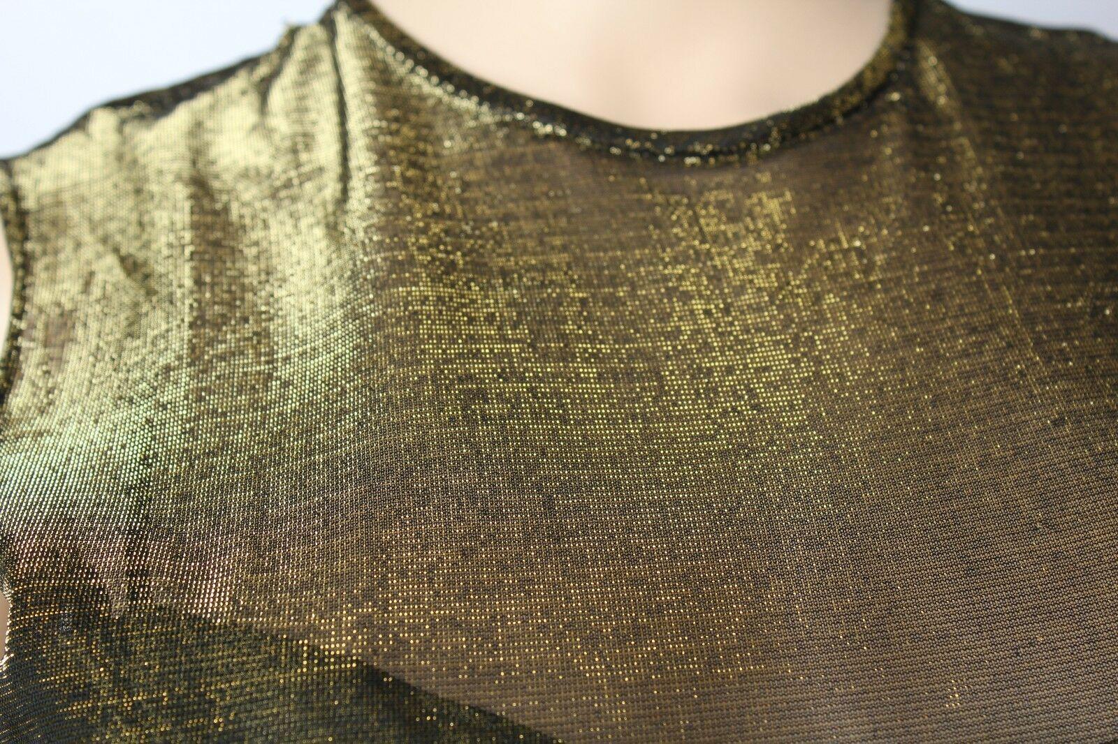 Vintage 24.4ms Vie Victoria Royal Verde Oro Metallizzato Festa Ballo Abito da