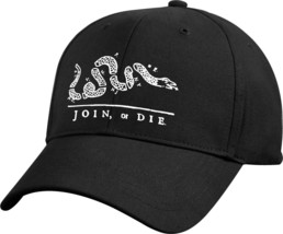 Black Join Or Die Revolutionary War Military Low Profile Baseball Cap Hat - $11.99