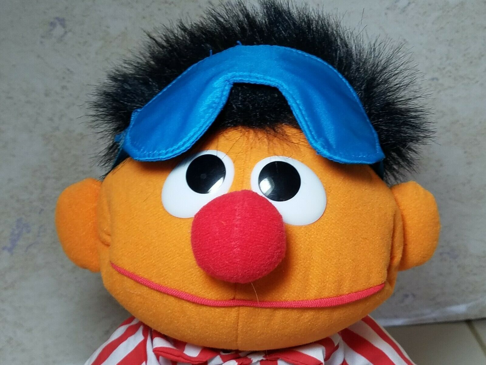"TYCO Sesame Street Sleep And Snore Ernie 1996 Plush Doll 18"" Jim Henson Muppet image 3"