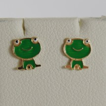 18K YELLOW GOLD CHILD GREEN FROG FROGS MINI EARRINGS GLAZED, FLAT, MADE IN ITALY image 1