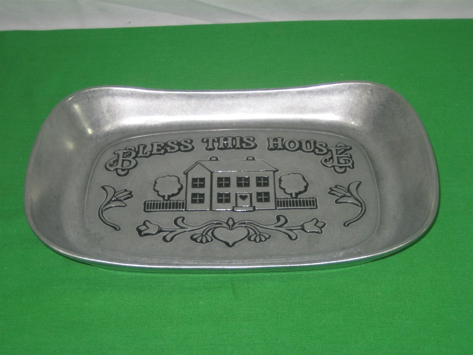 Primary image for Vintage Wilton Armetale RWP Bless this House Aluminum Bread Tray