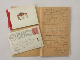 LOT 1910-16 antique EMMA GROFF ESTATE RECEIPT BOOK CHRISTMAS CARD lancas... - $47.50