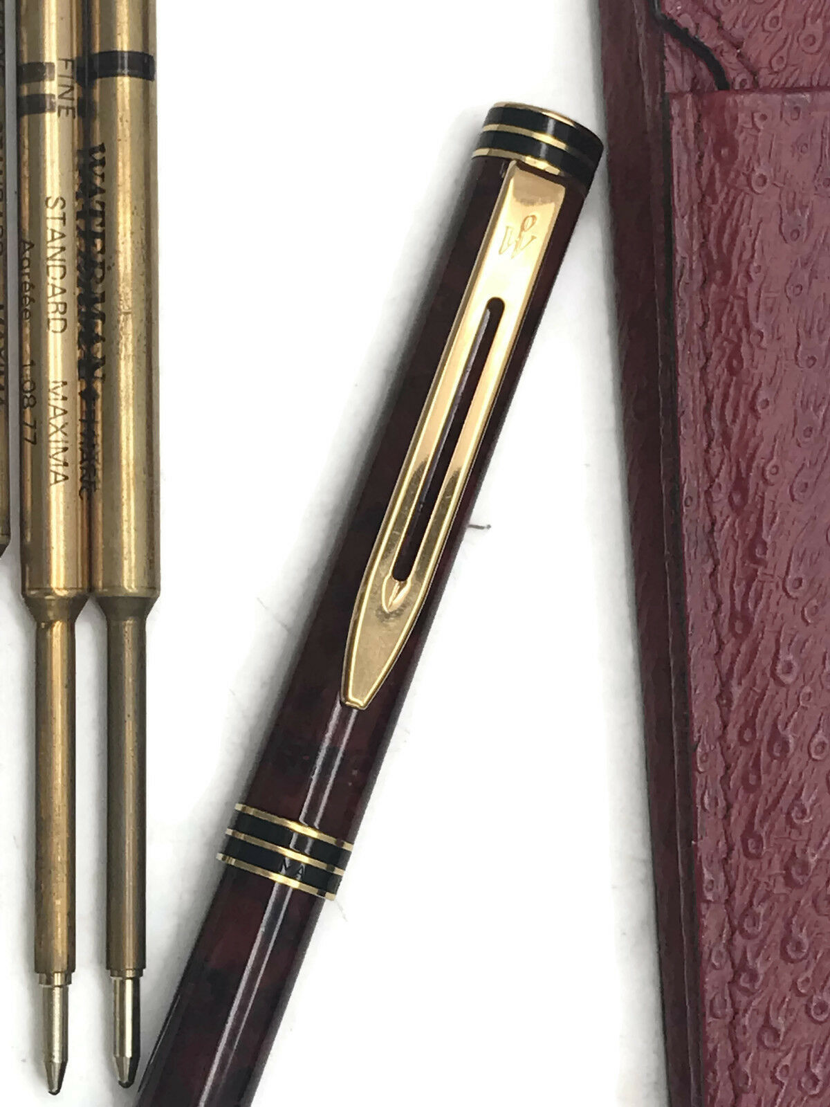 Vintage Watermann Ballpoint Pen In Red Exotic Leather Soft Cigar Case W/ Refills