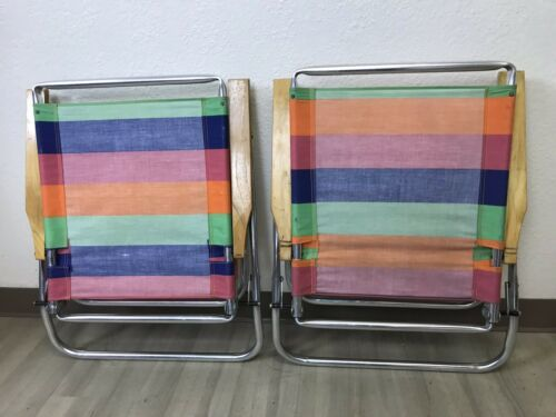 PAIR of Vintage Copa Beach Classic Aluminum Reclining Chairs Striped Colorful