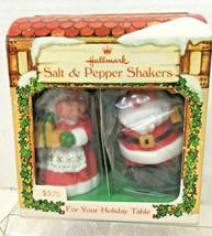 Vintage Hallmark Christmas Mr & Mrs Santa Claus Salt Pepper Shakers Cott... - $28.22