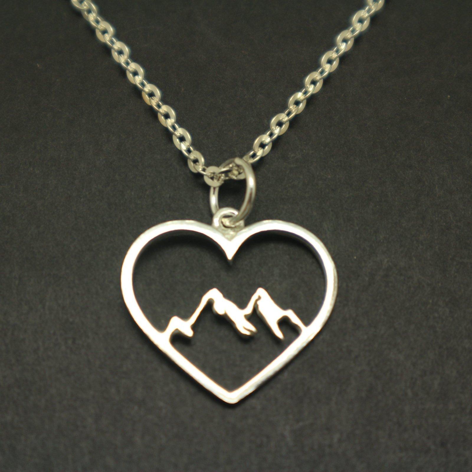 Mountain Range Heart Necklace Pendant