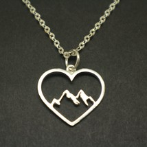 Mountain Range Heart Necklace Pendant - $52.00