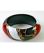 Vintage Wood Bangle Bracelet 1980s Nautical Painted Gold Roping Red Whit... - $29.99