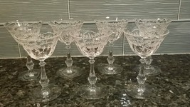 Antique Etched Crystal Cordial Glasses (7) Fostoria 2 oz Garland Ribbon - $120.00