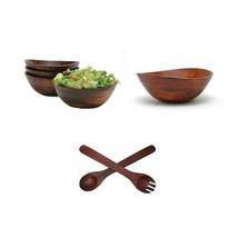 Lipper International 4 Bowls +Serving Bowl 12 inch Utensil Set salad fru... - ₨7,951.22 INR