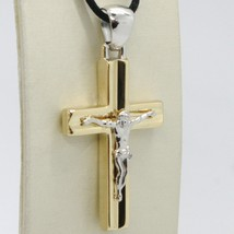 18K YELLOW WHITE GOLD JESUS CROSS PENDANT SQUARED 1.6 INCHES, 4.1 CM, ITALY MADE image 1