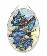 "Fairy Butterflies Sun Catcher AMIA Large Oval Hand Painted 9"" High Glass... - $33.65"