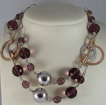 .925 RHODIUM SILVER ROSE GOLD PLATED NECKLACE WITH PURPLE FACETED CRISTALS image 1