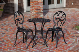 3-PIECE CAST ALUMINUM OUTDOOR BISTRO PATIO SET TABLE 2 CHAIRS NEW ANTIQU... - $168.29