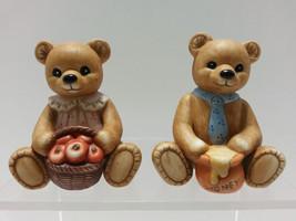 2 Harvest Bears Figurines Home Interiors Homco Ceramic #1405 Apples & Honey Pot - $10.48