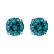 0.80 Carat Genuine Blue Diamond Stud Earrings in 14K Gold - $499.00