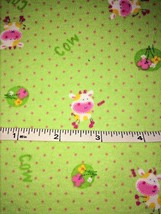 """Green Stretch Polyester Fabric with """"COW"""" Pink ... - $11.60"""