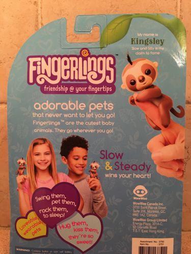 Fingerlings Interactive Baby Sloth Kingsley New 2017 WowWee