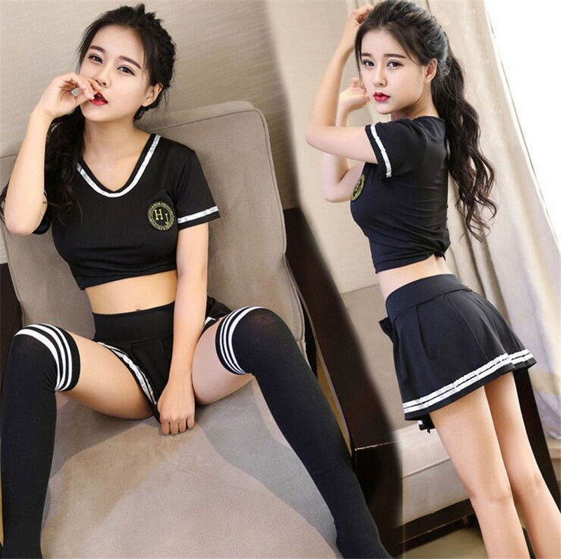 3pcs Sexy Lingerie School Student Uniform Cosplay Tops+Skirt+Stocking Outfits