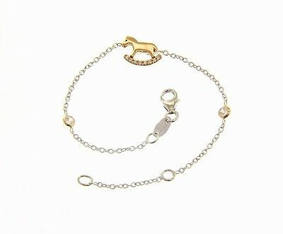 18K WHITE AND ROSE GOLD BRACELET FOR KIDS WITH ROCKING HORSE MADE IN ITALY