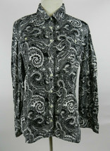 Tommy Hilfiger L Womens Blouse LS Black White Paisley Button Down Front  - $29.68