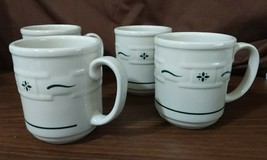 Longaberger Pottery Woven Traditions Mugs Ivory Traditional Green Decora... - $39.95