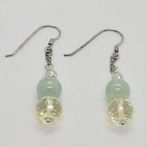 Silver Earrings 925 Rhodium Hanging with Quartz Citrine Aquamarine Green image 2