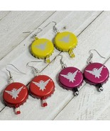 3 pair lot Beer Real Bottle Cap Fashion Novelty Earrings Jewelry (19) - $6.93