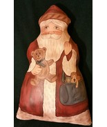 OOAK primitive signed folk art santa handpainted oilcloth Arnett's Count... - $35.00