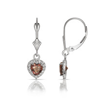 14K White Gold White Sapphire & Alexandrite Halo Heart Dangle Leverback ... - $121.75